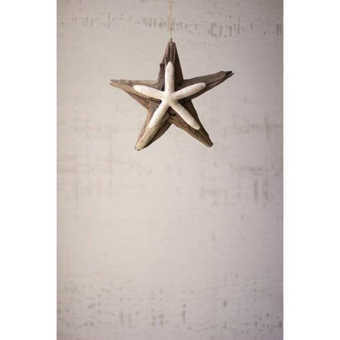 Driftwood Star Ornament With Starfish Detail - Les Spectacles French Industrial
