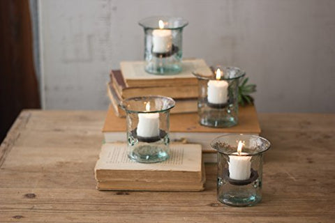 Recycled Glass Mini Votive Cylinder - Les Spectacles French Industrial
