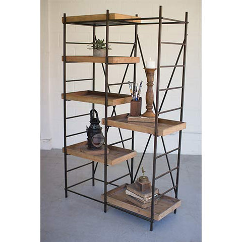 Iron Shelving Unit W/ Six Adjustable Wooden Shelves - Les Spectacles French Industrial