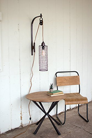 Wire Cylinder Wall Lamp With Pulley - Les Spectacles French Industrial