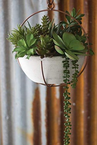 Hanging White Clay Bowl pot With Copper Finish Holder - Les Spectacles French Industrial