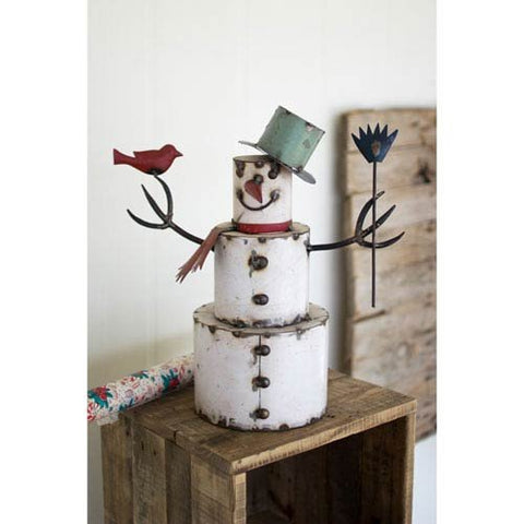 Recycled Painted Iron Snowman With Bird - Les Spectacles French Industrial