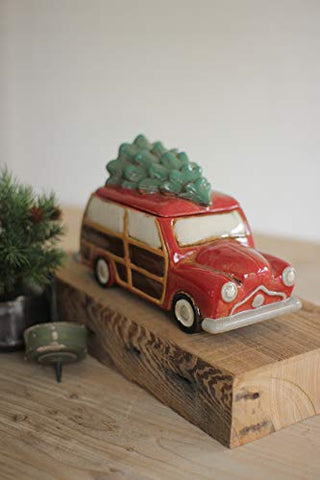 Ceramic Station Wagon With Tree Canister - Les Spectacles French Industrial