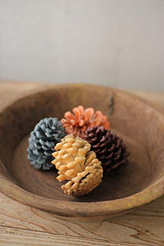 Set Of 4 Wax Pinecones - 1 Each-Yellow Brown Orange & Green - Les Spectacles French Industrial
