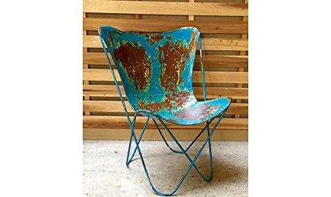 Iron Butterfly Chair - Vintage Blue - Les Spectacles French Industrial