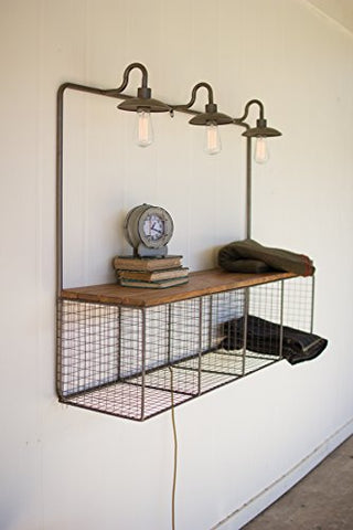 Wire Cubby With Three Lights - Les Spectacles French Industrial