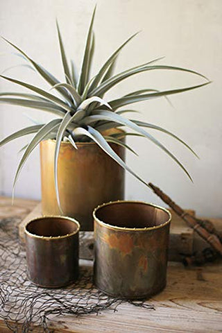 Set Of Three Virgin Copper Planters