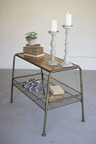 Wood And Metal Console With Wire Mesh Lower Tray - Les Spectacles French Industrial