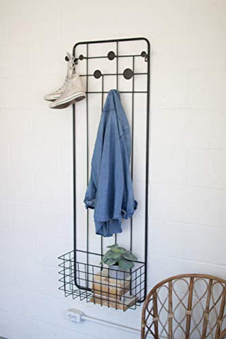 Metal Wall Coat Rack With Storage Basket - Les Spectacles French Industrial