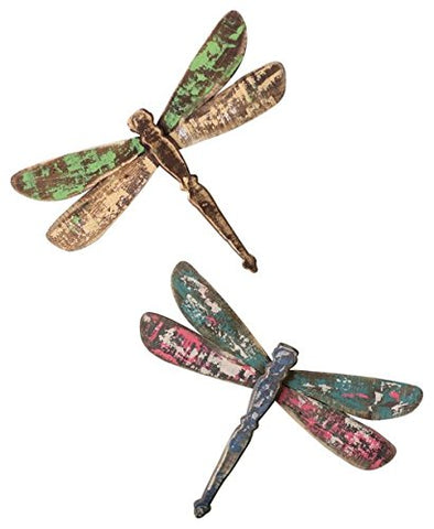 Set Of 2 Wooden Dragonfly Wall Art - Les Spectacles French Industrial