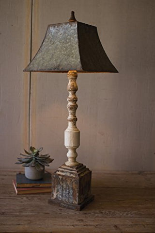 Tall Turned Banister Lamp With Metal Shade - Les Spectacles French Industrial