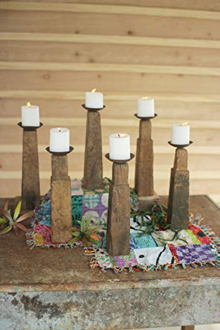Set Of Six Repurposed Wooden Furniture Leg Candle Holders - Les Spectacles French Industrial