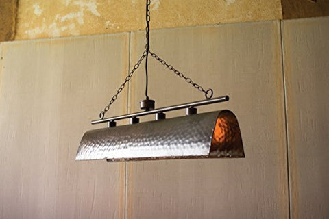 Long Hammered Metal Pendant With Four Lights - Les Spectacles French Industrial