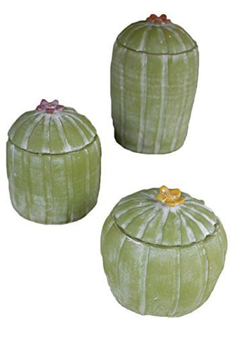 Set Of Three Clay Cactus Canisters With Flower Tops - Les Spectacles French Industrial