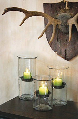 Mini Glass Candle Cylinders W Rustic Insert - Large - Les Spectacles French Industrial