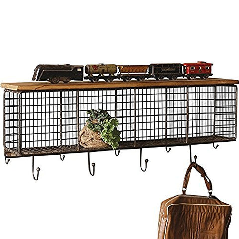 Large Wire Mesh Four Horizontal Cubbies With Wooden Top - Les Spectacles French Industrial