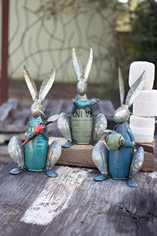 Set Of Three Recycled Metal Rabbits - Les Spectacles French Industrial