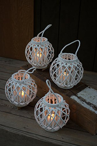 Round White Willow Lantern With Glass Insert - Large - Les Spectacles French Industrial