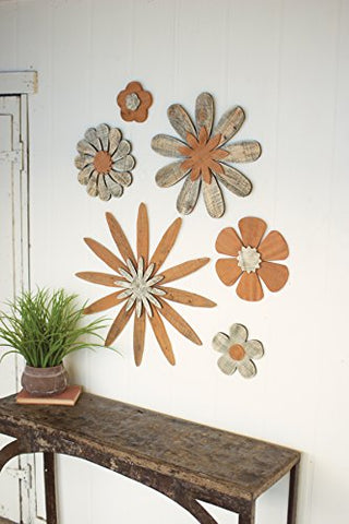 Set Of Six Wooden Flower Wall Art - Les Spectacles French Industrial