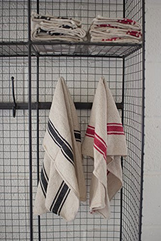 Set Of 6 Cotton Kitchen Towels - Red Stripe - Les Spectacles French Industrial