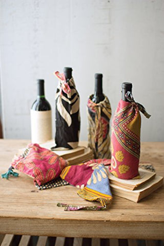 Set Of Six Kantha Wine Pouches - Les Spectacles French Industrial
