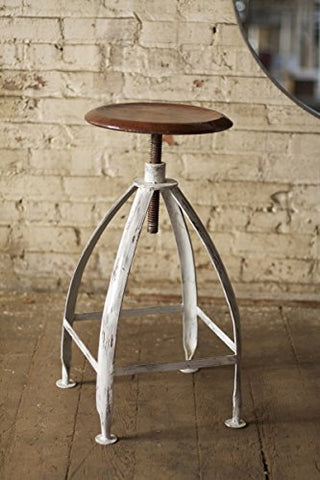 Metal Stool W Adjustable Top-Rustic Top W Antique White Base - Les Spectacles French Industrial