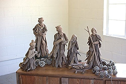 Set Of 6 Driftwood Nativity Set - Les Spectacles French Industrial