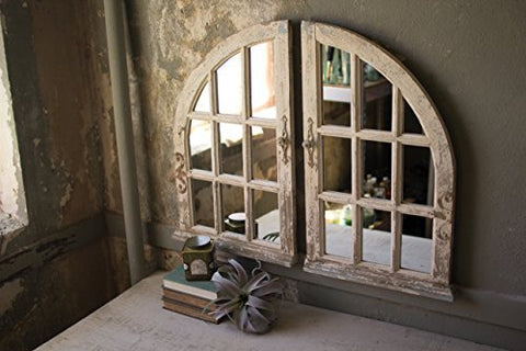 Set Of Two Arched Window Mirrors - Les Spectacles French Industrial