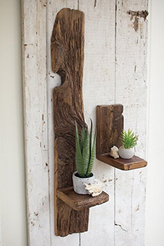 Small Recycled Wood Wall Shelf - Les Spectacles French Industrial