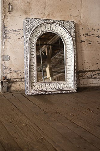 Pressed Metal Arched Wall Mirror - Les Spectacles French Industrial