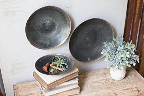 Set Of Three  Black Copper Platters - Les Spectacles French Industrial