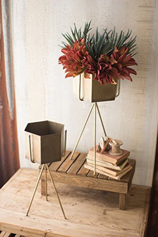 Set Of Two Raw Metal Planters On Antique Brass Stands