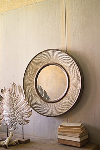 Round Pressed Metal Wall Mirror - Les Spectacles French Industrial