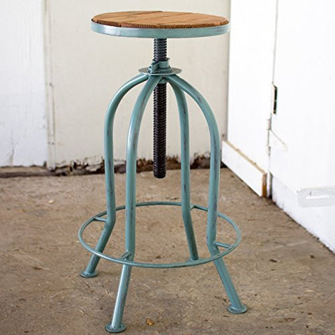 Adjust Bar Stool W Recycled Wood - Industrial Blue Finish - Les Spectacles French Industrial