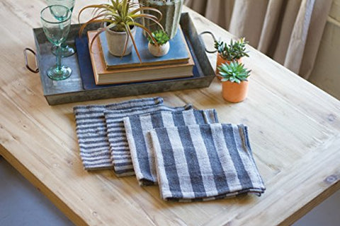 Set Of Four Grey Striped Cotton Napkins-2 Each Design