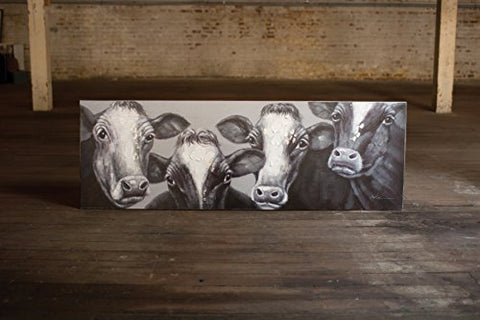 Oil Painting Black And White Four Cows - Les Spectacles French Industrial
