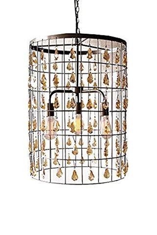 Large Cylinder Pendant Light With Amber Hanging Gems - Les Spectacles French Industrial