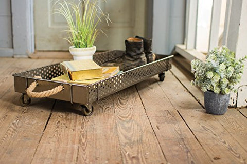 Rolling Iron Boot Tray With Rope Handles - Les Spectacles French Industrial