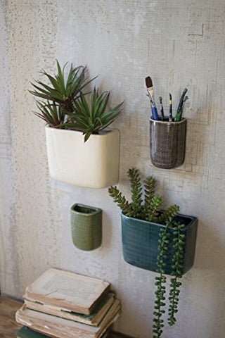 S/4 Ceramic Rectangle Wall Vases-One Each Color