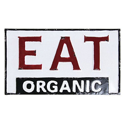 "Painted Tin ""Eat Organic"" Sign - Les Spectacles French Industrial"