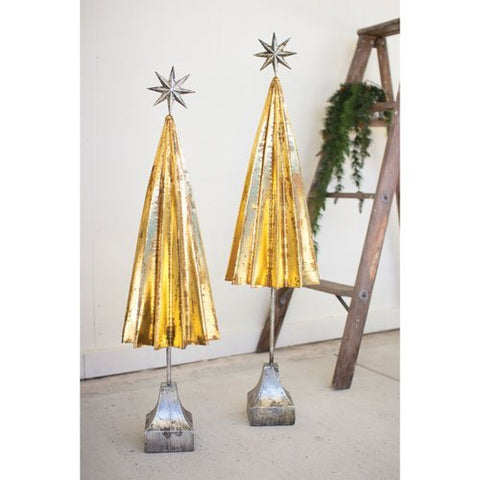 Set Of Two Folded Gold Metal Trees With Silver Star