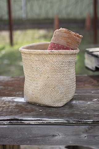 Woven Cement pot With Rolled Top-Natural - Les Spectacles French Industrial