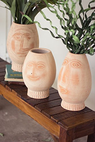Set Of Three Clay Face Vases - Les Spectacles French Industrial