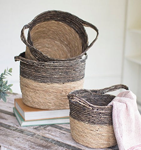 Set Of Three Black And Natural Baskets - Les Spectacles French Industrial