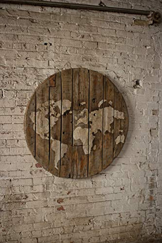 Repurposed Wooden Spool World Map - Les Spectacles French Industrial