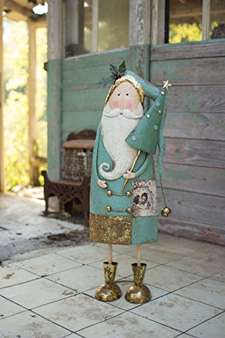 Painted Metal Santa With Tree - Les Spectacles French Industrial