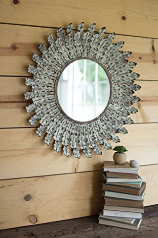 Pressed Metal Leaves Wall Mirror - Les Spectacles French Industrial