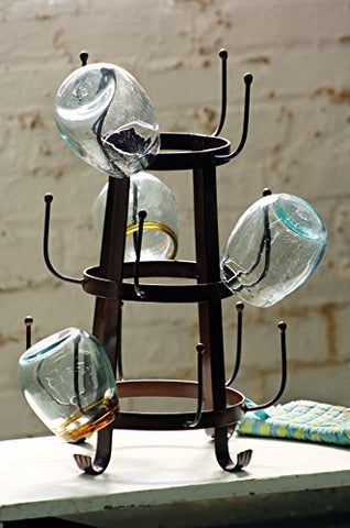 Rustic Iron Glass Drying Rack - Les Spectacles French Industrial
