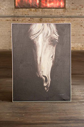 Oil Painting Black & White Front View Horse W Silver Frame - Les Spectacles French Industrial