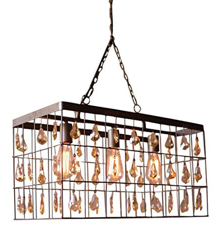 Large Rectangle Pendant Light With Amber Hanging Gems - Les Spectacles French Industrial